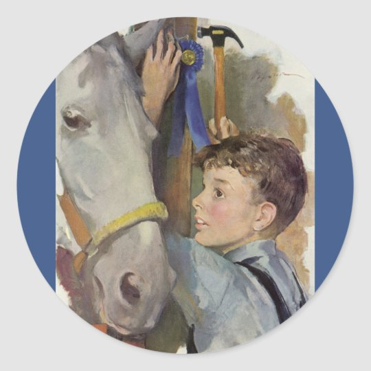 Vintage Boy with His Blue Ribbon Winning Horse Classic Round Sticker
