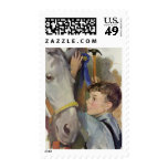 Vintage Boy with His Blue Ribbon Winning Horse Postage Stamps