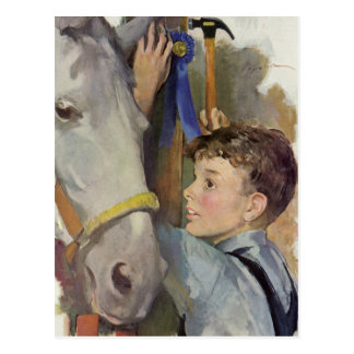 Vintage Boy with His Blue Ribbon Winning Horse Postcard