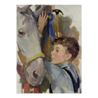 Vintage Boy with His Blue Ribbon Winning Horse Posters