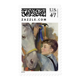 Vintage Boy with His Blue Ribbon Winning Horse Stamp