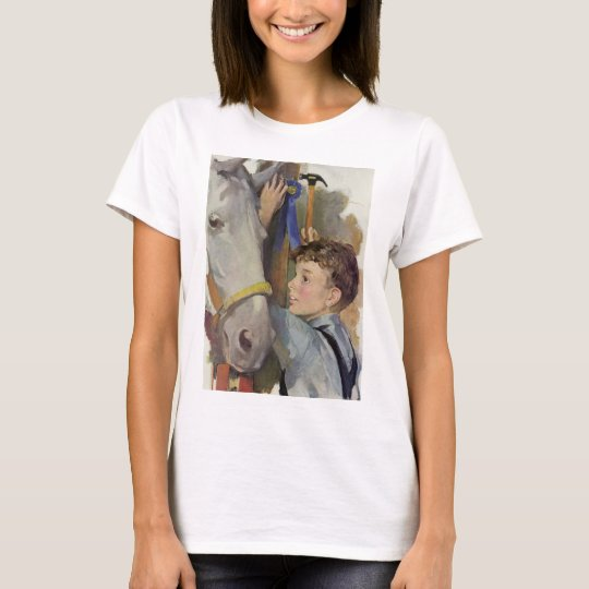 Vintage Boy with His Blue Ribbon Winning Horse T-Shirt