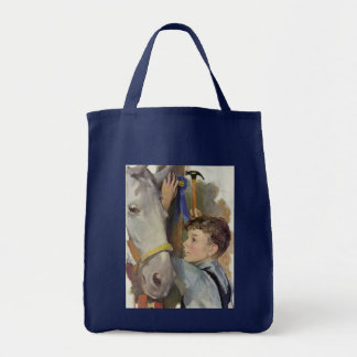 Vintage Boy with His Blue Ribbon Winning Horse Tote Bag