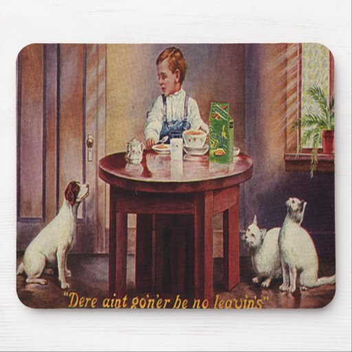 Vintage Boy with his Dog/Cats Sharing Mousepad