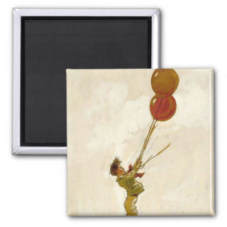 Vintage Boy with Red Balloons at a Birthday Party Magnet