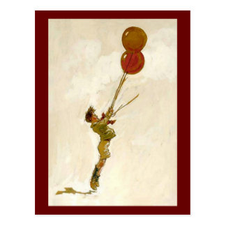 Vintage Boy with Red Balloons at a Birthday Party Postcard