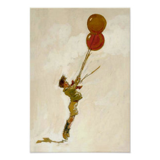 Vintage Boy with Red Balloons at a Birthday Party Poster