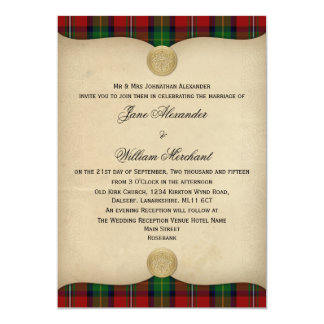 Vintage Boyd Tartan Plaid Wedding Invitations