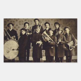 Vintage Boys Brass Band Warsaw Indiana Rectangular Sticker