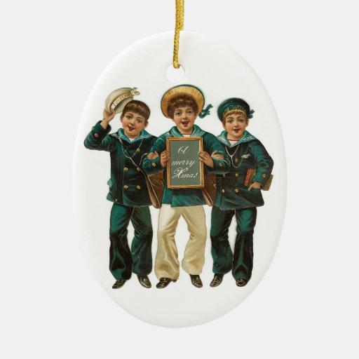 vintage boys christmas ornament