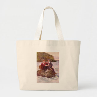 Vintage - Boys On A Rock - Seaside Jumbo Tote Bag