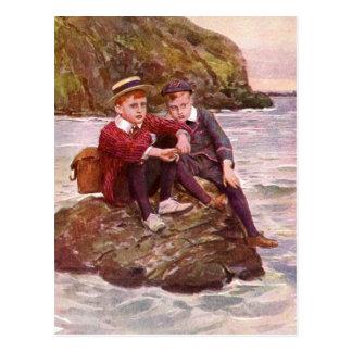 Vintage - Boys On A Rock - Seaside Postcard