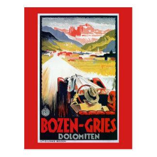 Vintage Bozen Gries Italian automobile travel ad Postcard