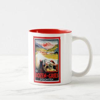Vintage Bozen Gries Italian automobile travel ad Two-Tone Coffee Mug