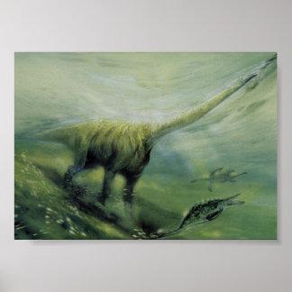 Vintage Brachiosaurus Dinosaur Swimming in Ocean Poster