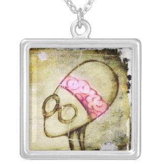 Vintage Brain-bot Square Pendant Necklace