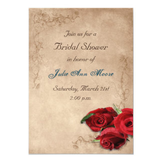 Vintage Brandy Rose Bridal Shower Card
