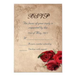 Vintage Brandy Rose Wedding RSVP Card