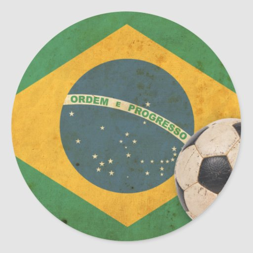 Vintage Brazil Flag Stickers