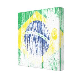 Vintage Brazil national flag White Canvas Print