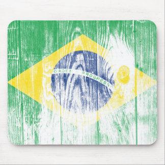 Vintage Brazil national flag White Mousepad