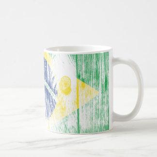 Vintage Brazil national flag White Mug
