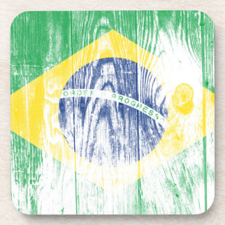 Vintage Brazil national flag White Square Stickers Beverage Coaster