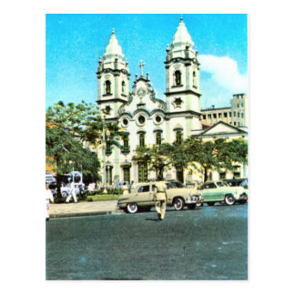 Vintage    Brazil Recife, Baroque Cathedral Postcard