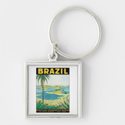 Vintage Brazil Silver-Colored Square Keychain