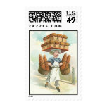 Vintage Bread Bakery Pastry Chef Cook Apron Hat Postage Stamps