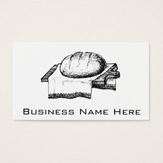 Vintage Bread Illustration, Black Line Art Business Card