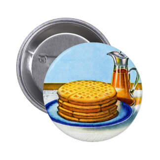 Vintage Breakfast Retro Waffles and Syrup Button