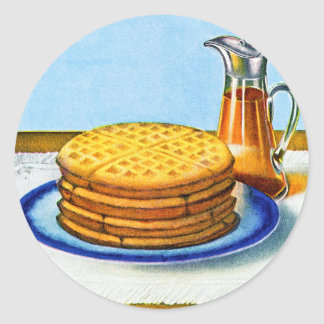 Vintage Breakfast Retro Waffles and Syrup Classic Round Sticker