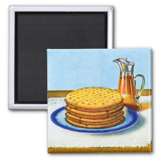 Vintage Breakfast Retro Waffles and Syrup Magnet