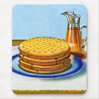 Vintage Breakfast Retro Waffles and Syrup Mouse Pad