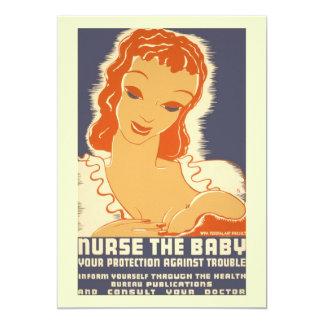 Vintage breastfeeding 5x7 paper invitation card