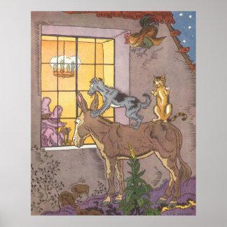 Vintage Bremen Town Musicians Fairy Tale, Hauman Print