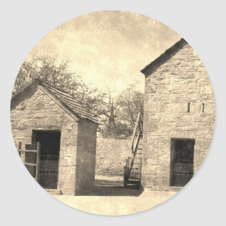 Vintage Brick Homestead Buildings Classic Round Sticker