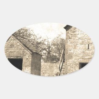 Vintage Brick Homestead Buildings Oval Sticker