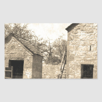 Vintage Brick Homestead Buildings Rectangular Sticker