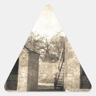 Vintage Brick Homestead Buildings Triangle Sticker