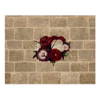 Vintage Bricks Wall Pattern. Flowers Design Postcard