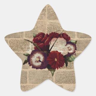 Vintage Bricks Wall Pattern. Flowers Design Star Sticker