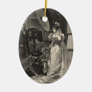 Vintage Bridal Portrait, Victorian Bride Ceramic Ornament
