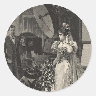 Vintage Bridal Portrait, Victorian Bride Classic Round Sticker