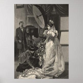 Vintage Bridal Portrait, Victorian Bride Poster