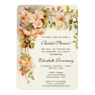 Vintage Bridal Shower Antique Roses Flowers Floral 5x7 Paper Invitation Card