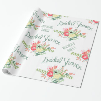 Vintage Bridal Shower Flowers Wrapping Paper
