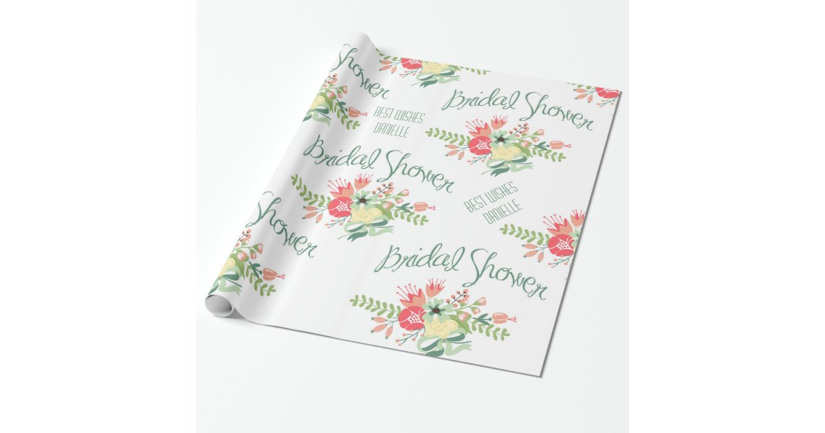 Vintage Bridal Shower Flowers Wrapping Paper Zazzle Com