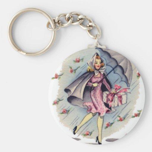 Vintage Bridal Shower Guest Key Chain